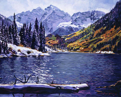 Popular Painting - Rocky Mountain Serenity by David Lloyd Glover