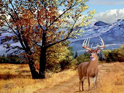 Buck And Doe Painting - Rocky Mountain Trail by Chambers and Lewis