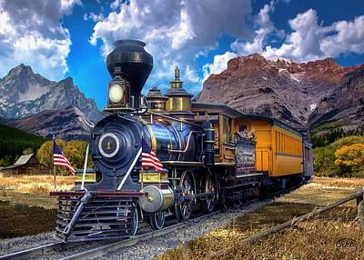 Train Crossing Painting - Rocky Mountain Train by Ron Chambers