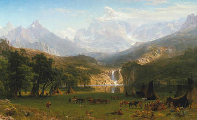 Indian Fine Art Painting - Rocky Mountains by Albert Bierstadt