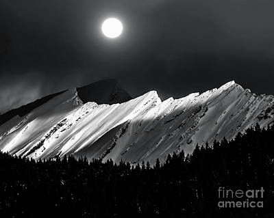 Rocky Mountains In Moonlight Art Print