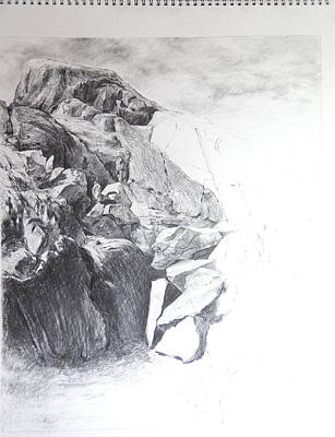 Drawing - Rocky Outcrop In Snowdonia. by Harry Robertson