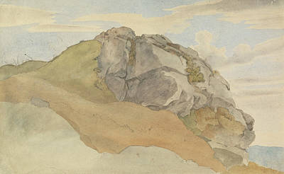 Drawing - Rocky Outcropping by Ernst Ferdinand Oehme