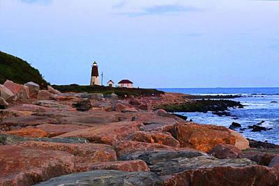 Photograph - Rocky Path Night Judith Point Lighthouse Narragansett Rhode Island Ri Breakwater by Toby McGuire