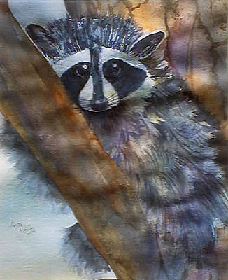 Painting - Rocky Racoon by Jerry Kelley