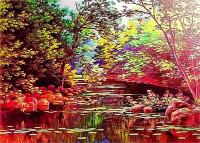 Rocky Rainbow River Art Print