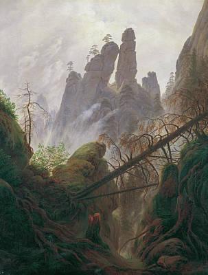 Caspar David Friedrich Painting - Rocky Ravine In The Elbe Sandstone Mountains by Caspar David Friedrich