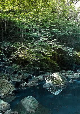 Autumn Landscape Mixed Media - Rocky River by Svetlana Sewell