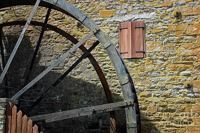 Photograph - Rocky Run Grist Mill Wheel by Karen Adams