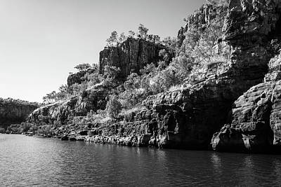 Photograph - Rocky Sandstone Cliffs In Black And White At Katherine River Gorge, Australia by Daniela Constantinescu