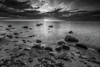Digital Art - Rocky Sea Shore At Sunrise. Beautiful Seascape Bw by Michael Damiani