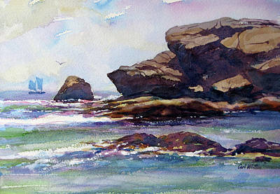 Painting - Rocky Shore - Good Harbor Beach by Carl Whitten