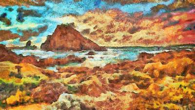 Digital Art - Rocky Shore High by Mario Carini