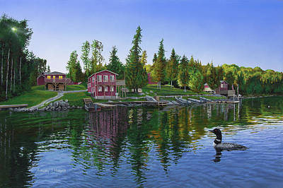 Loon Painting - Rocky Shore Lodge by Anthony J Padgett
