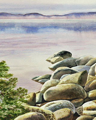 Painting - Rocky Shore Of The Lake Watercolor by Irina Sztukowski