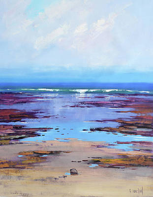 Impressionist Beach Painting - Rocky Shoreline  by Graham Gercken