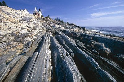 Rocky Shoreline With A Lighthouse Pemaquid Point Maine Art Print by George Oze