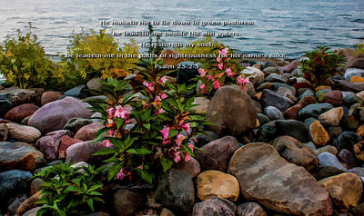 Photograph - Rocky Shores Of Lake St. Clair- Michigan Psalm 23 2-3 by Joann Copeland-Paul