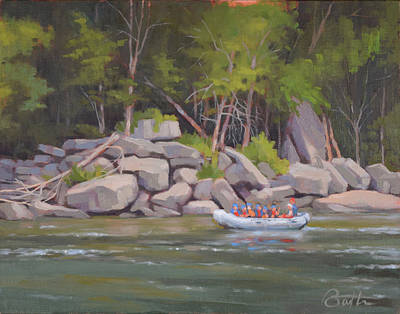 White Water Rafting Painting - Rocky Shores by Todd Baxter