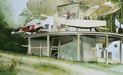Amusement Ride Painting - Rocky Springs Airplane Ride by Denny Bond