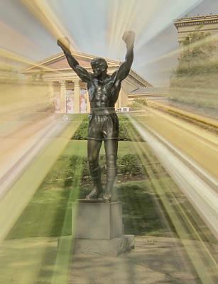 Mixed Media - Rocky Statue by Trish Tritz