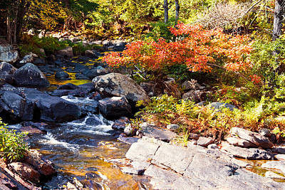 New England Fall Shots Photograph - Rocky Stream Waterfalls by Sherry  Curry