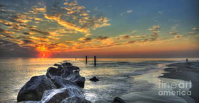 Best Ocean Photograph - Rocky Sunrise Tybee Island Georgia  by Reid Callaway
