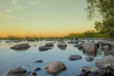 Nikki Vig Royalty-Free and Rights-Managed Images - Rocky Sunset Along Bay of Green Bay by Nikki Vig