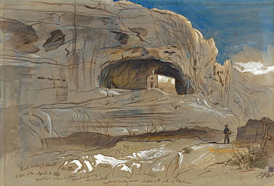 Drawing - Rocky Valley Of Mosta. Malta. 1.30 P.m.3 April 1866 by Edward Lear