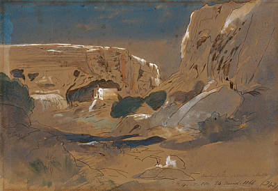 Drawing - Rocky Valley Of Mosta. Malta by Edward Lear