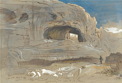 Drawing - Rocky Valley Of Mosta, Malta, One-thirty P.m. by Edward Lear