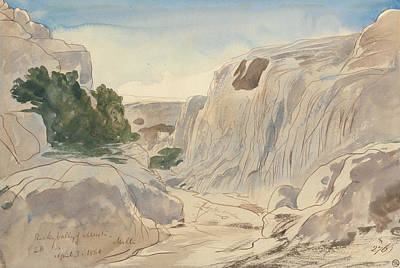 Drawing - Rocky Valley Of Mosta, Malta, Two-fifteen P.m. by Edward Lear