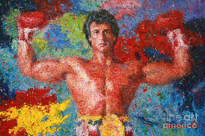 Stallone Painting - Rocky Victory - Rocky 3 by Bill Pruitt