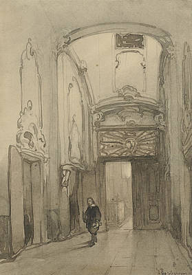 Seventeenth Century Drawing - Rococo Portal In City Hall In The Hague With A Man In Seventeenth-century Costume by Johannes Bosboom