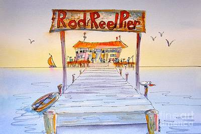Wall Art - Painting - Rod And Reel Pier by Midge Pippel