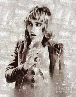 Rock And Roll Royalty-Free and Rights-Managed Images - Rod Stewart by Mary Bassett by Mary Bassett
