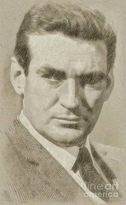 Classic Portrait Drawing - Rod Taylor, Actor by Frank Falcon