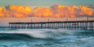 Photograph - Rodanthe Fishing Pier And Clouds At Sunset Panorama by Ranjay Mitra