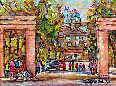 Painting - Roddick Gates Mcgill Campus Paintings For Sale Montreal University Streetscene C Spandau Artist      by Carole Spandau