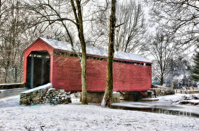 Covered Bridge Painting - Roddy Road Thurmont Md by Karen Leigh Studios