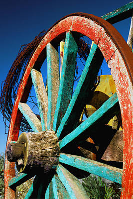 Photograph - Rode Hard And Put Up - Wagon Wheel Rustic Country Rural Antique by Jon Holiday