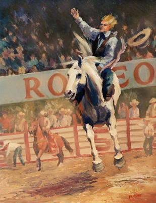 Bronc Painting - Rodeo   Bareback Bronc Painting by Kim Corpany
