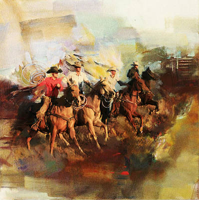 Chicago Oil Painting - Rodeo 39 by Maryam Mughal