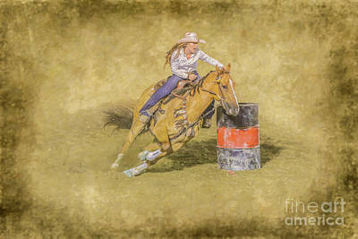 Digital Art - Rodeo Barrel Racing by Randy Steele