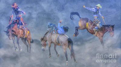 Digital Art - Rodeo Bronco Busting Times Three by Randy Steele
