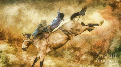 Digital Art - Rodeo Bronco Riding Five Watercolor by Randy Steele