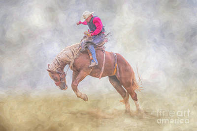 Digital Art - Rodeo Bronco Riding by Randy Steele
