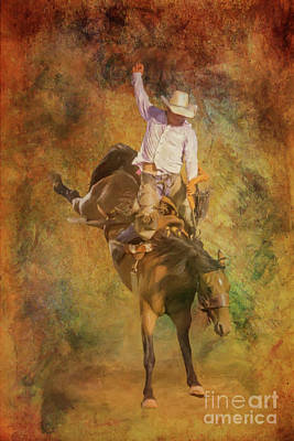 Digital Art - Rodeo Bronco Riding Three by Randy Steele