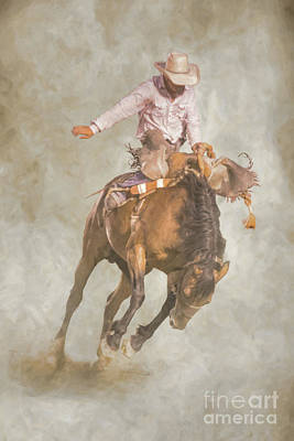 Digital Art - Rodeo Bronco Riding Two by Randy Steele