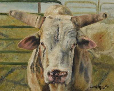 Painting - Rodeo Bull 2 by Lori Brackett